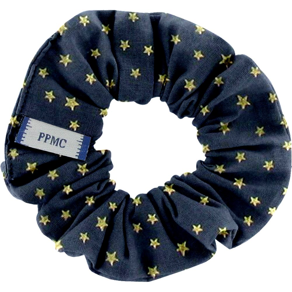 Small scrunchie navy gold star
