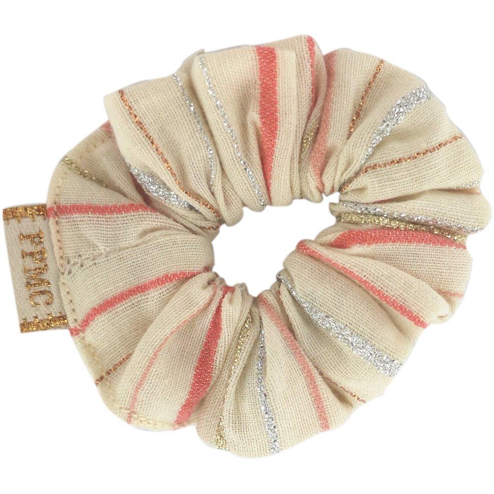 Mini Scrunchie silver pink striped
