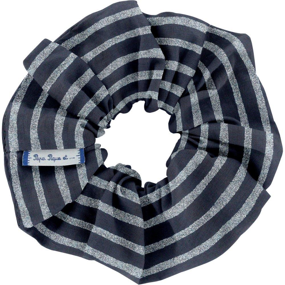 Scrunchie striped silver dark blue