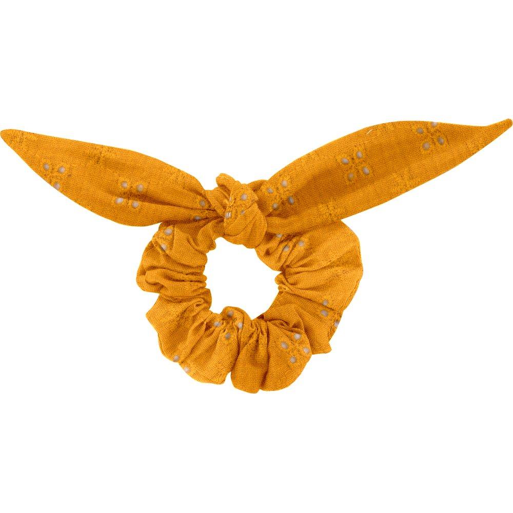 Bunny ear Scrunchie gaze dentelle ocre