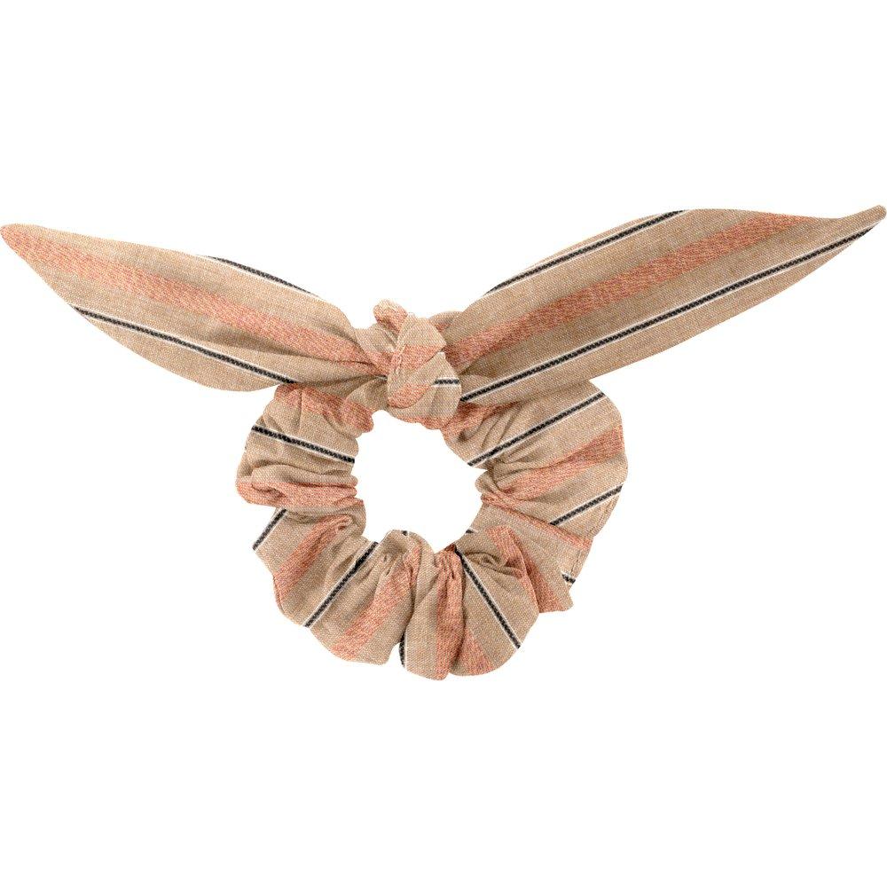 Chouchou nœud  rayure bronze cuivrée