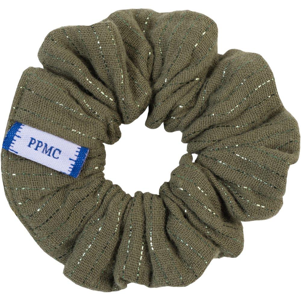 Small scrunchie khaki lurex gauze