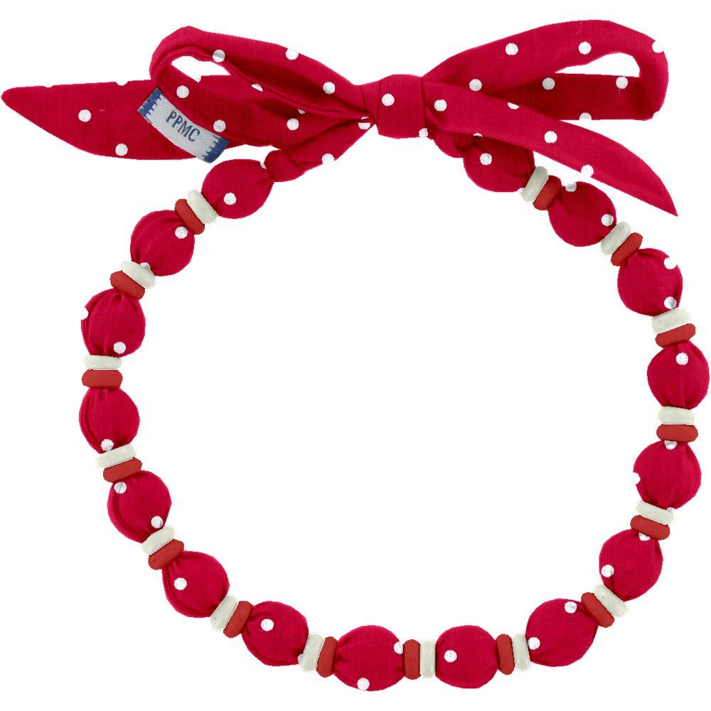 Collier coco pois rouge