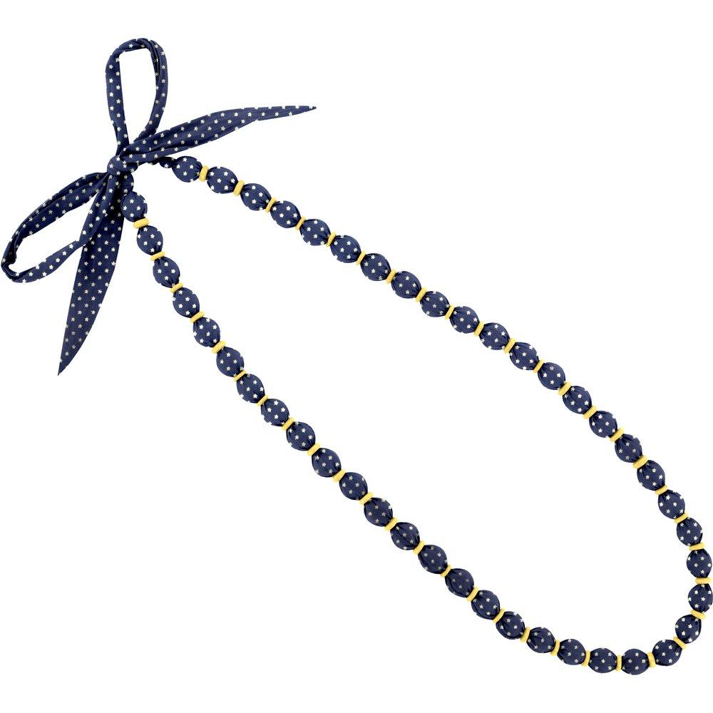 Collier sautoir perles etoile or marine