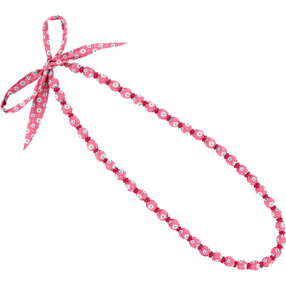 Collier sautoir perles  fleurette blush