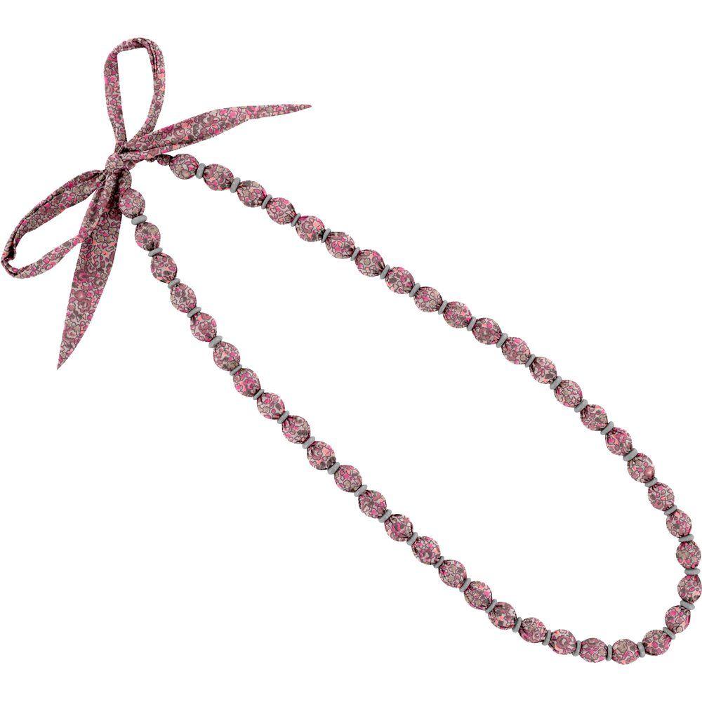 Collier sautoir perles lichen prune rose