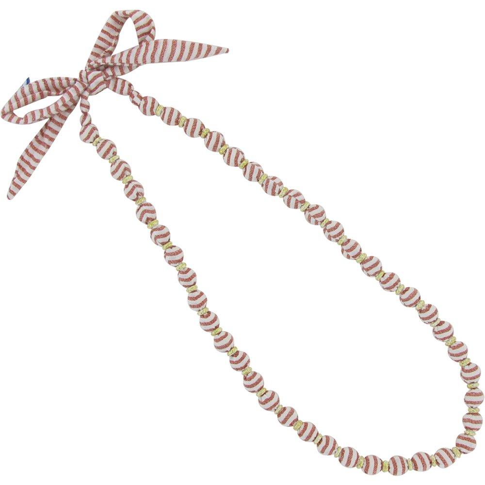 Collier sautoir perles rayures cuivrées