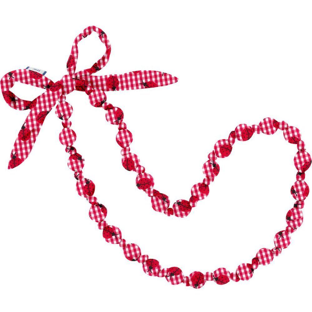 Collar largo  cuadros vichy rojo y mariquitas
