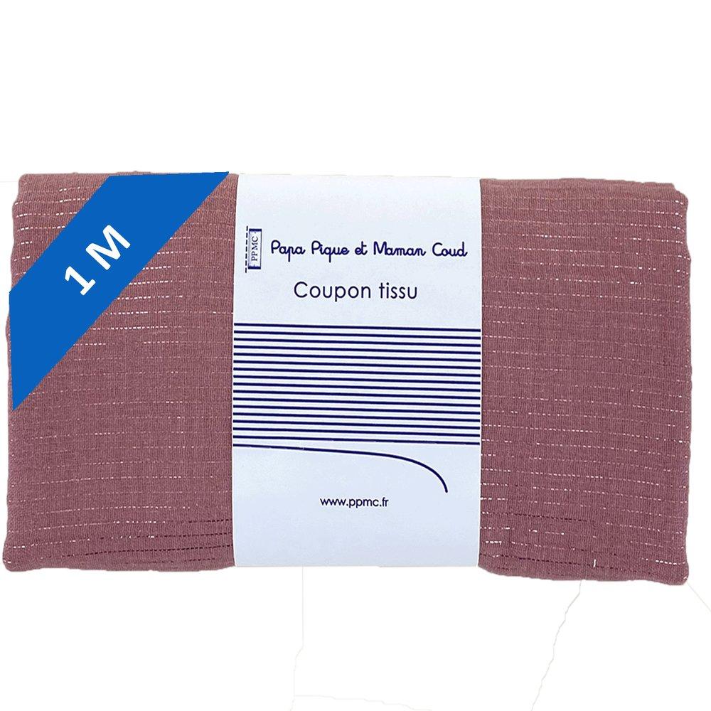 1 m fabric coupon dusty pink lurex gauze