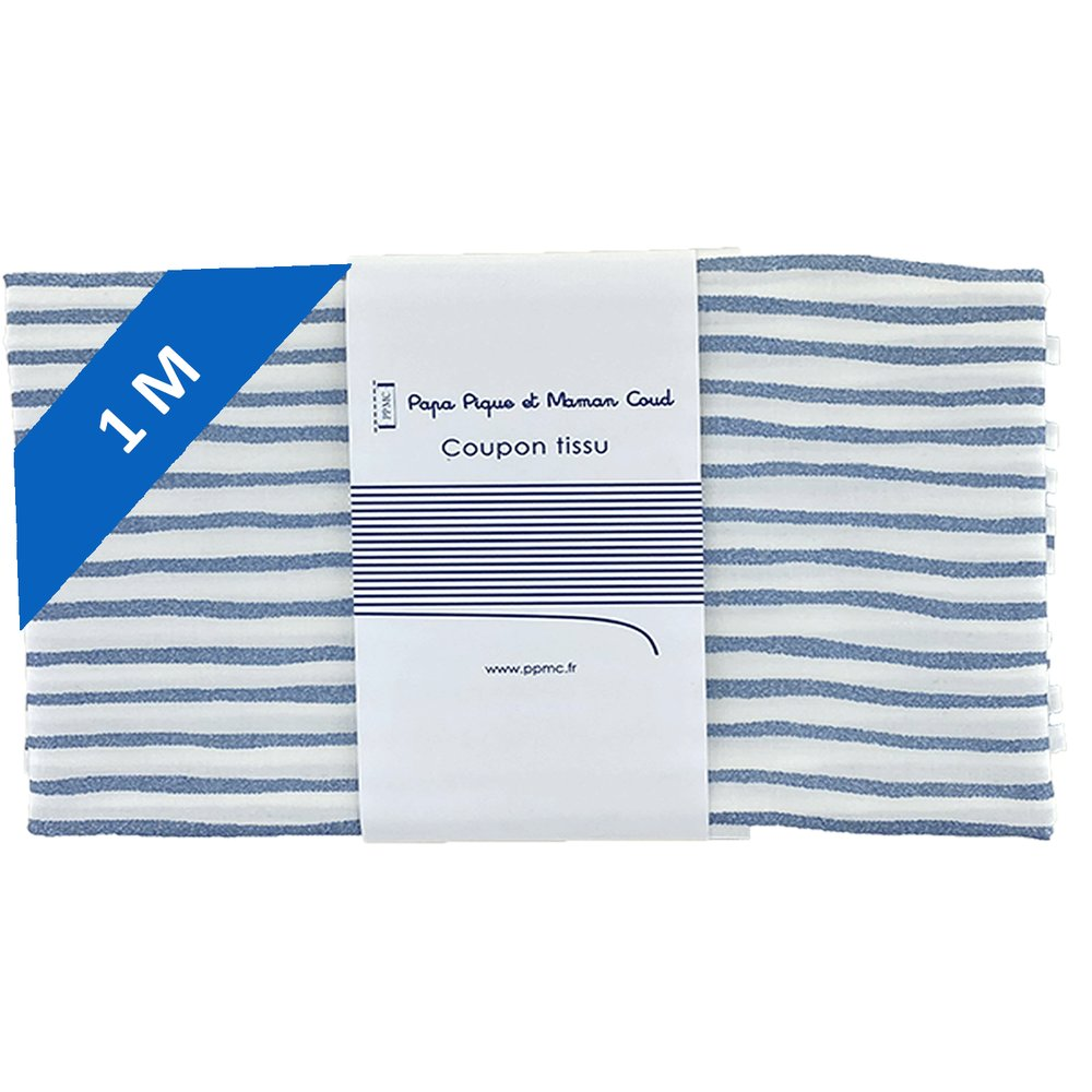 1 m fabric coupon striped blue gray glitter