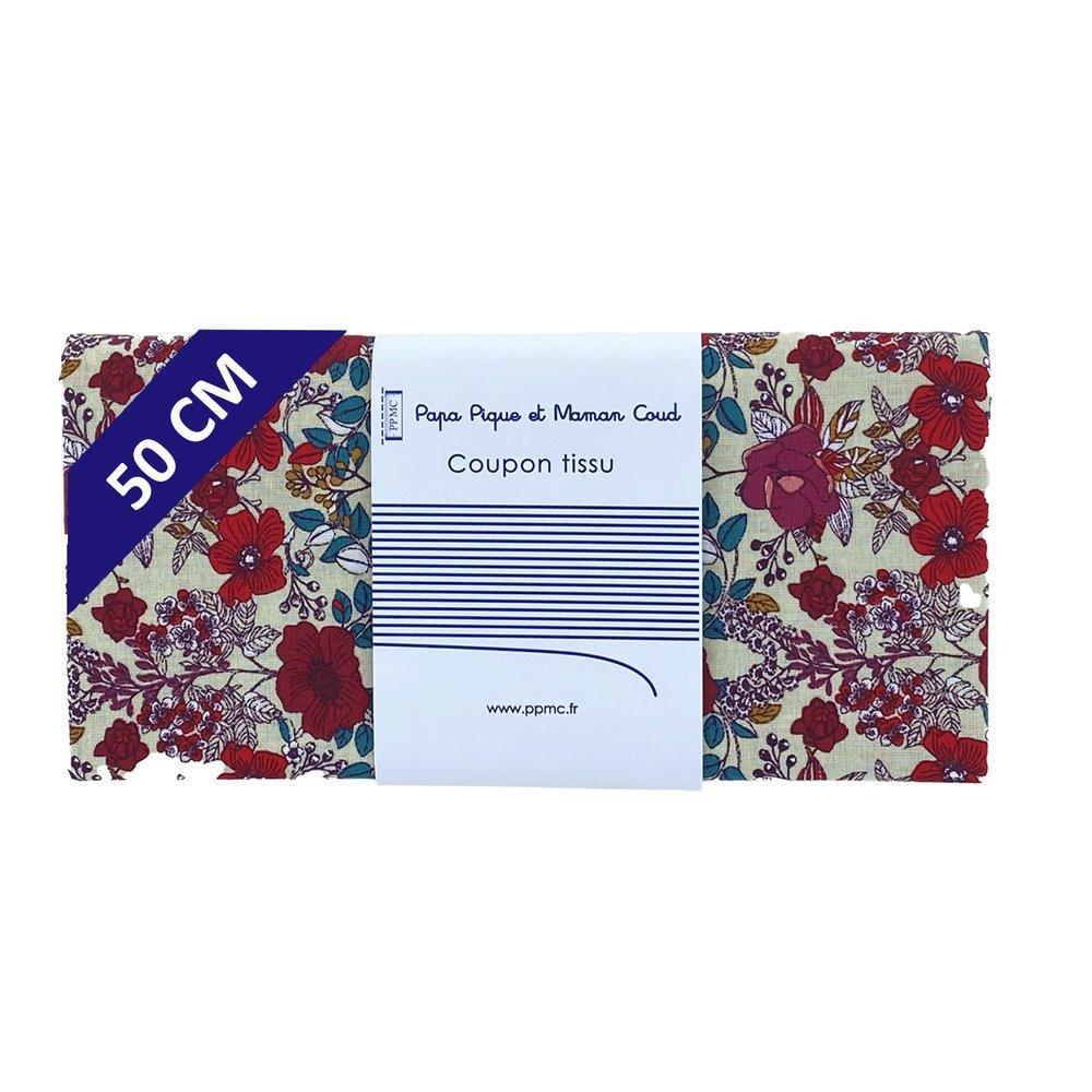 Coupon tissu 50 cm coquelicot