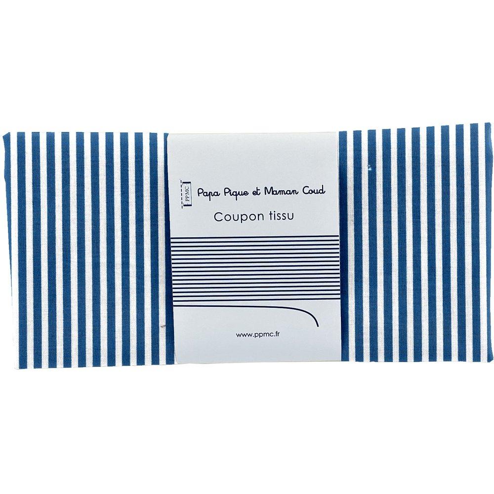 Coupon tissu 50 cm ligne blanc marine ex1001
