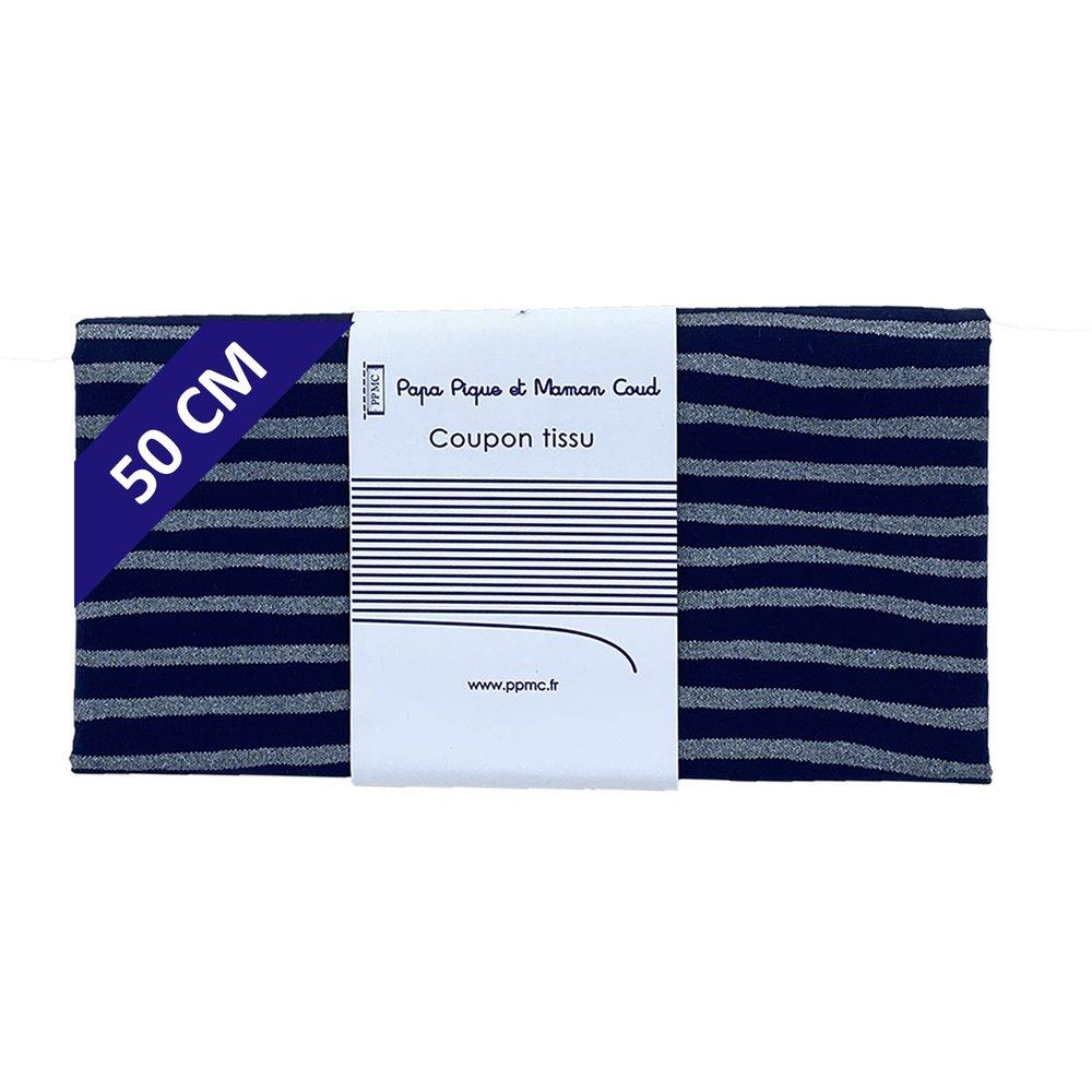 Coupon tissu 50 cm rayé argent marine