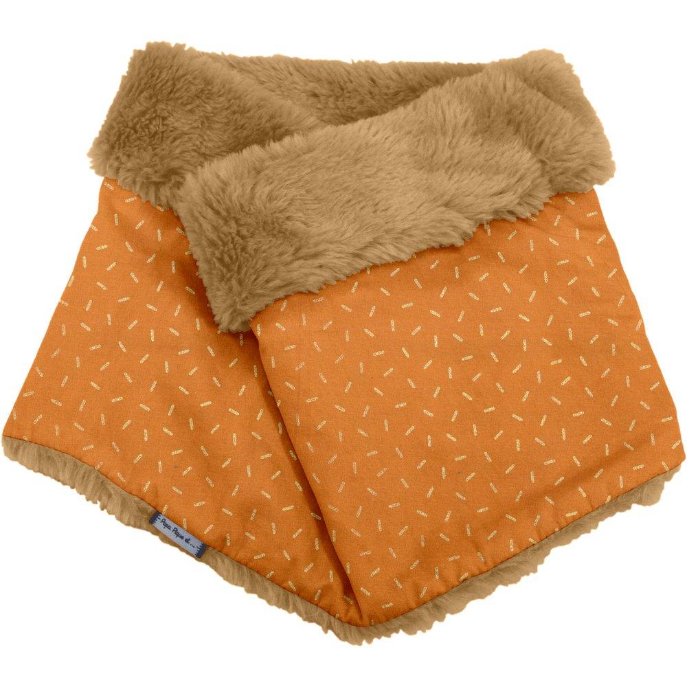 Adult Fur scarf snood caramel golden straw