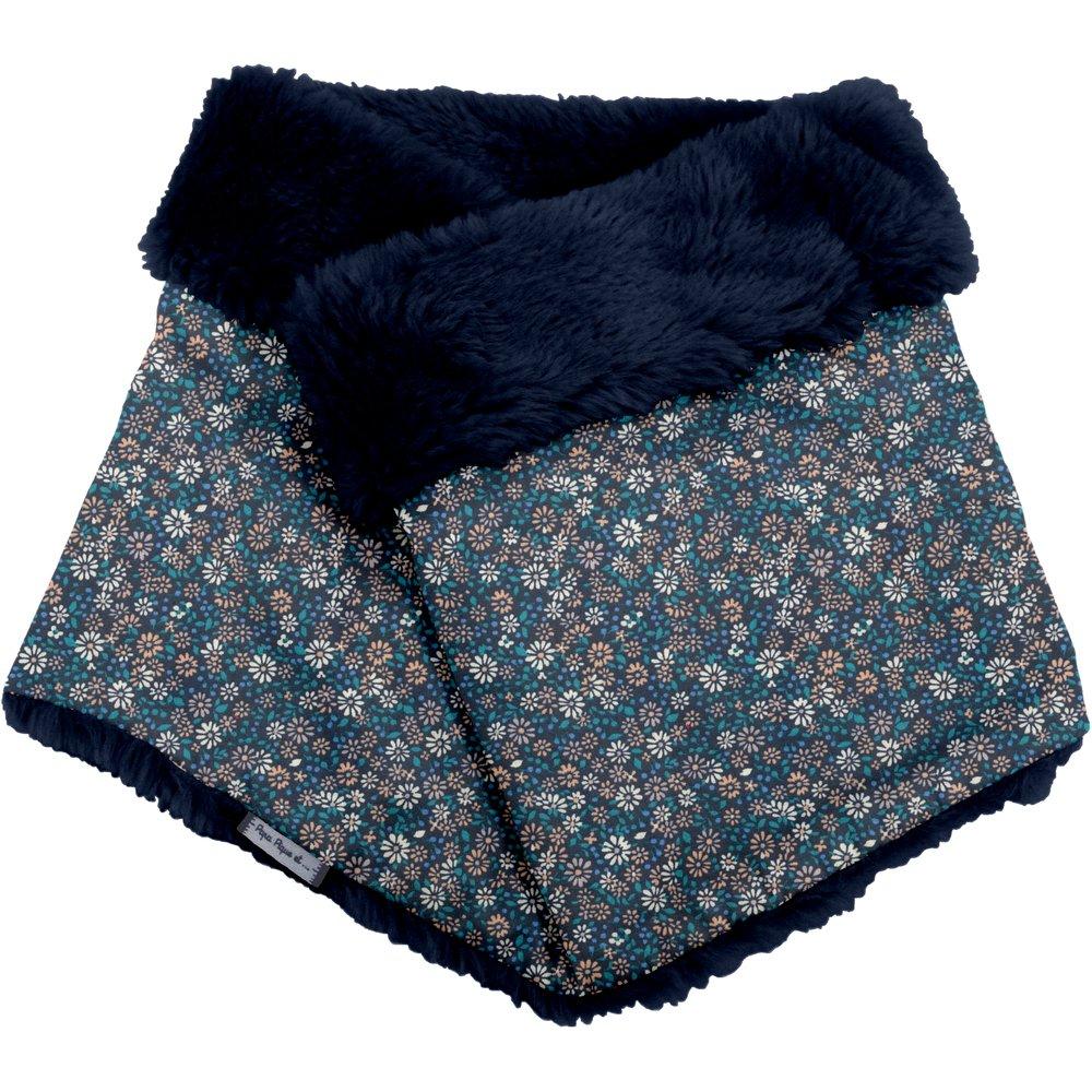 Adult Fur scarf snood paquerette marine