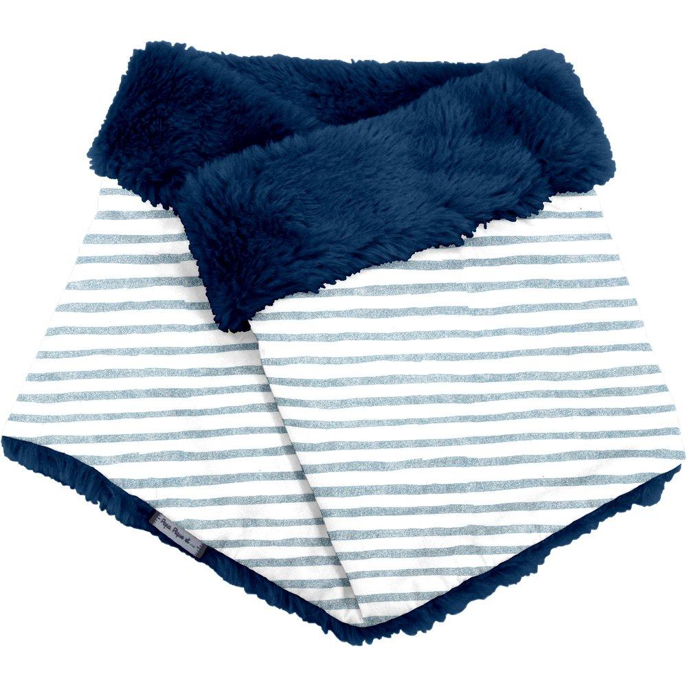 Adult Fur scarf snood striped blue gray glitter