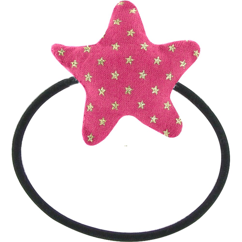 Pony-tail elastic hair star etoile or fuchsia