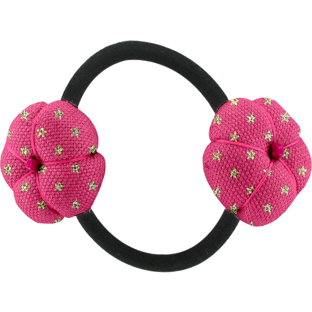 Japan flower pony-tail holder etoile or fuchsia
