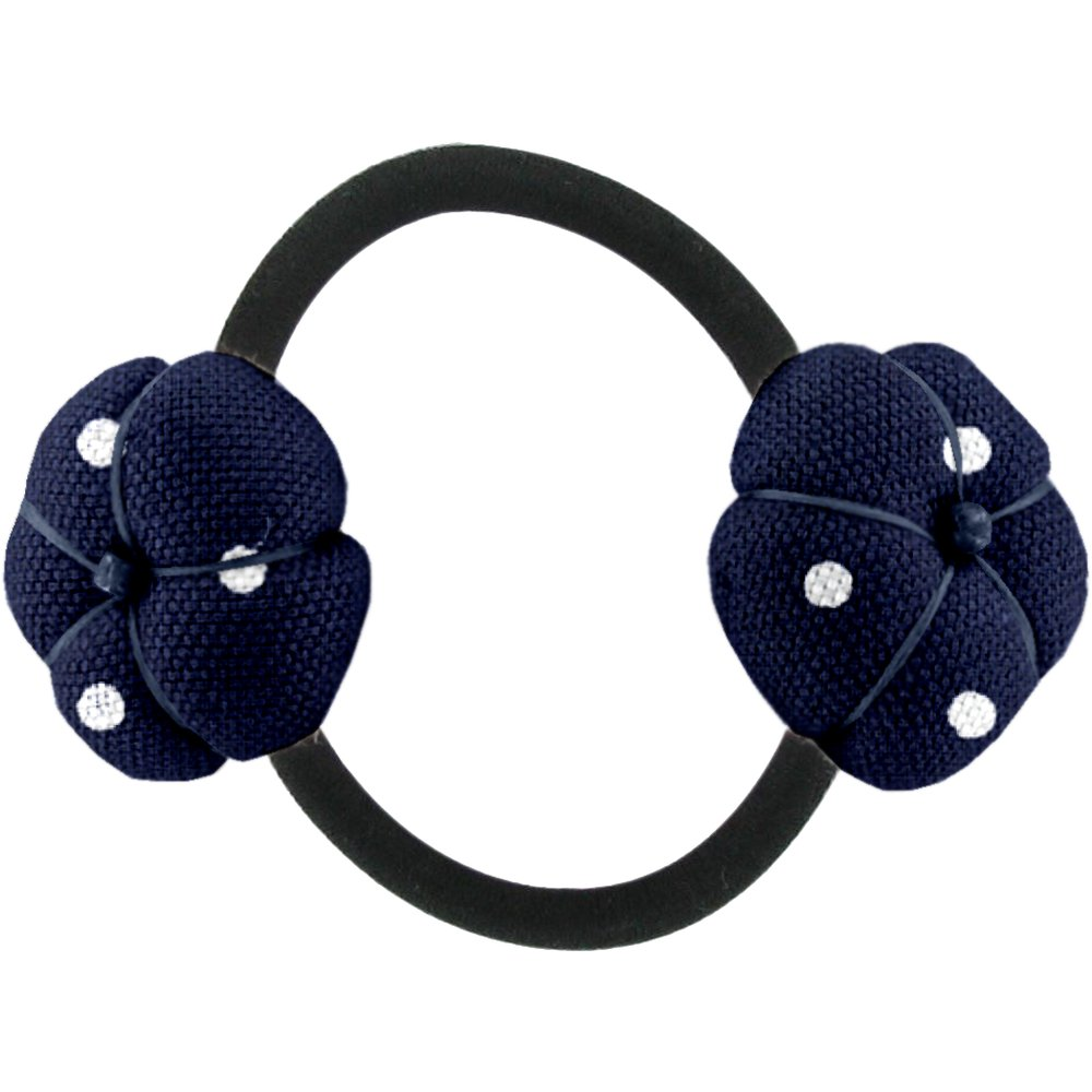 Japan flower pony-tail holder navy blue spots