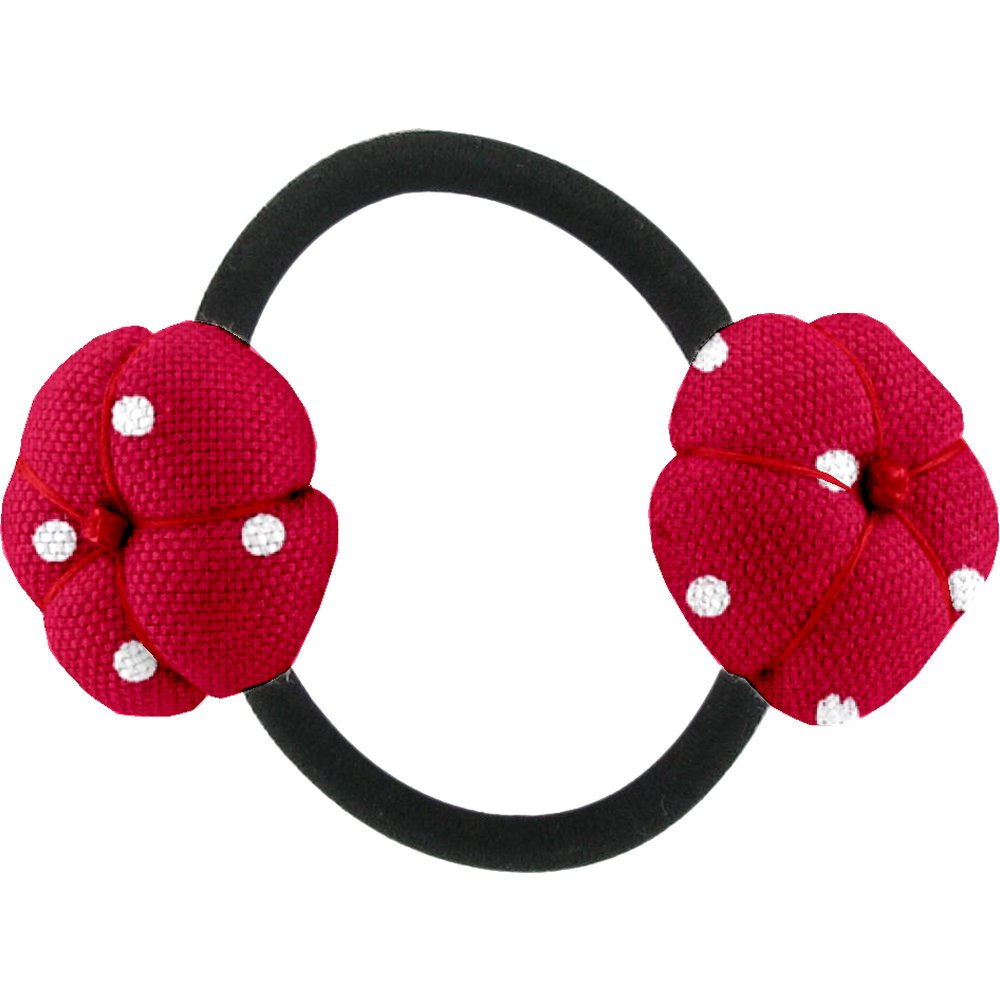 Japan flower pony-tail holder red spots