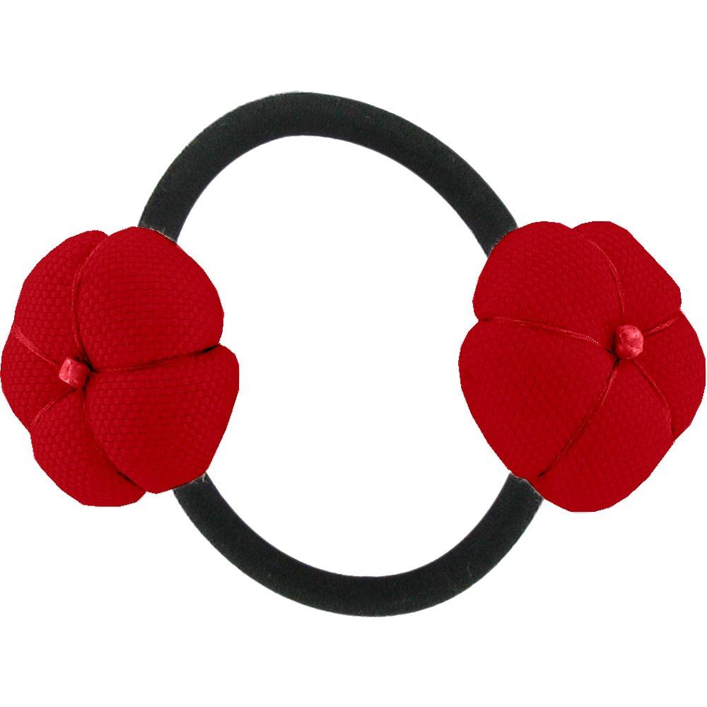 Japan flower pony-tail holder red
