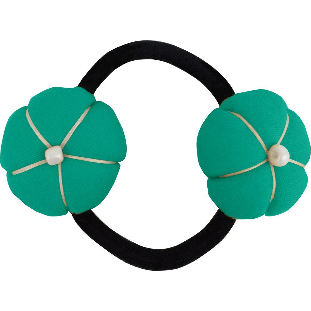 Japan flower pony-tail holder green laurel