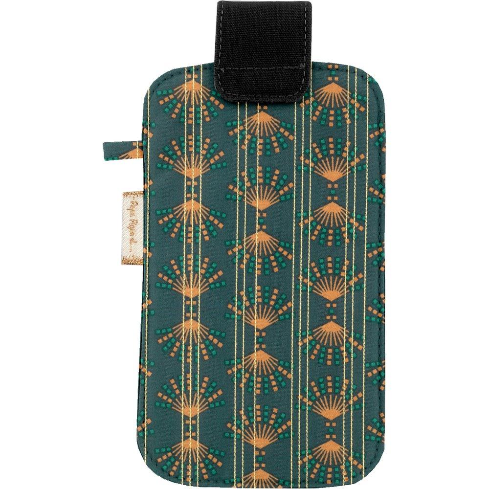 Etui téléphone portable eventail or vert