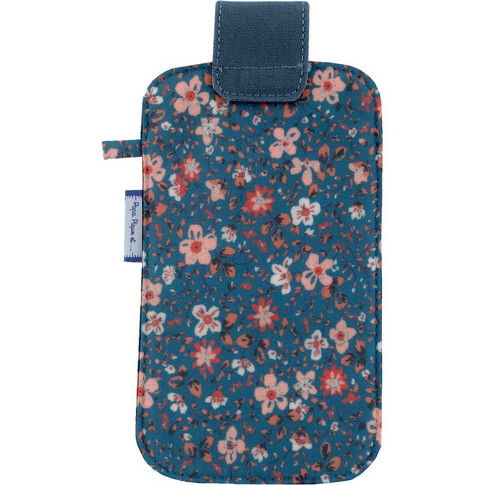 Etui téléphone portable fleuri nude ardoise
