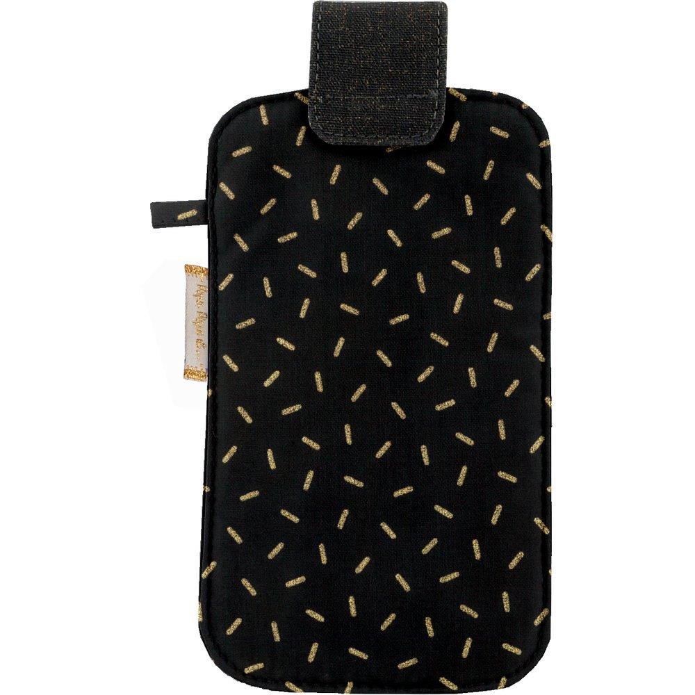 Etui téléphone portable  paille dorée noir