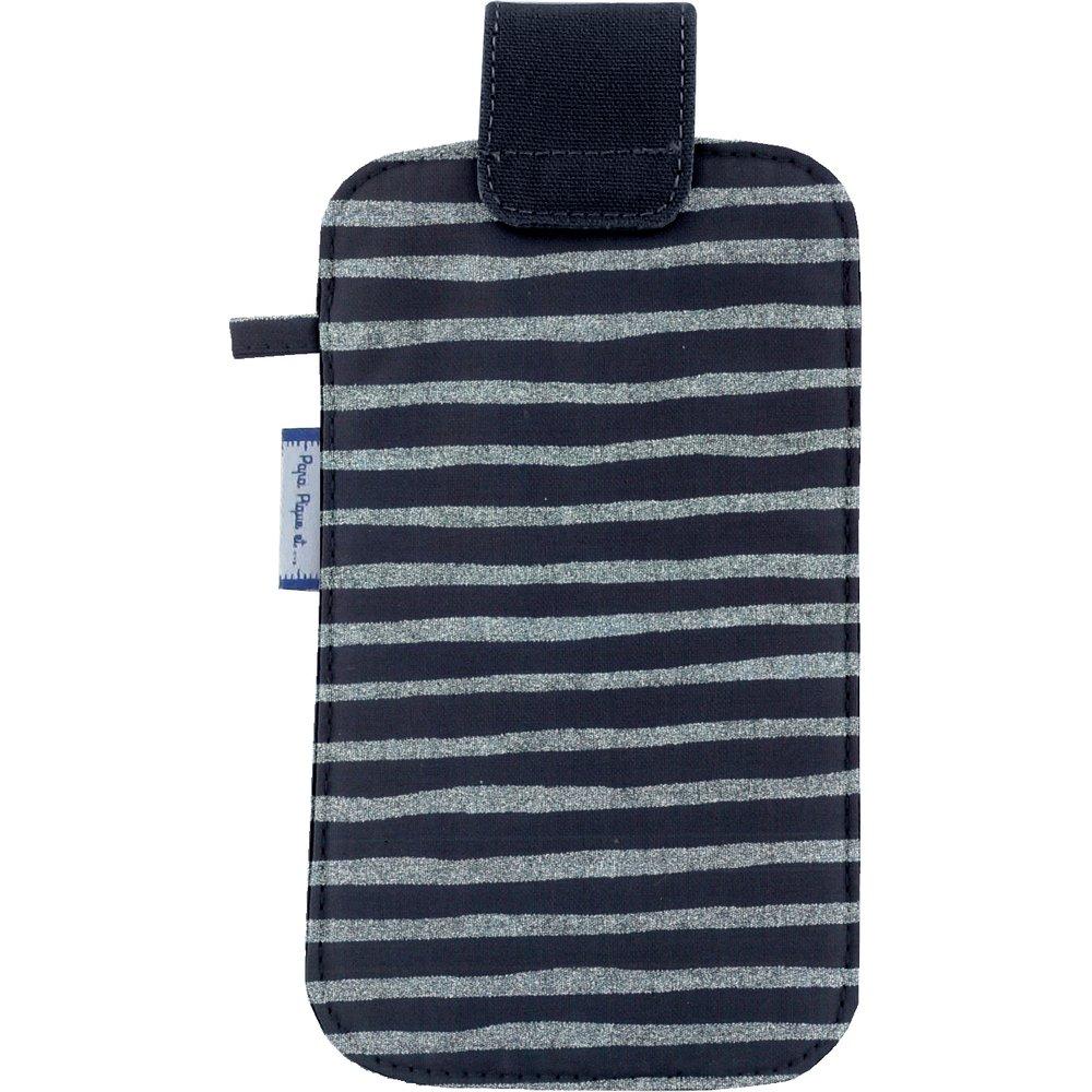 Etui téléphone portable rayé argent marine