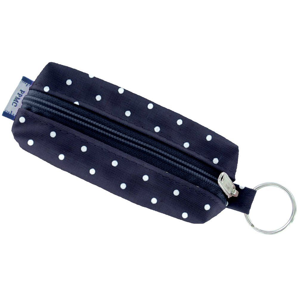 mini-pouch keyring navy blue spots