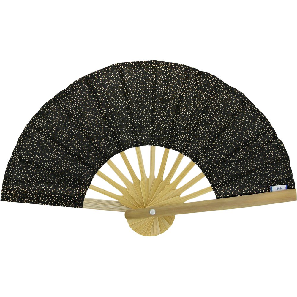 Hand-held fan noir pailleté