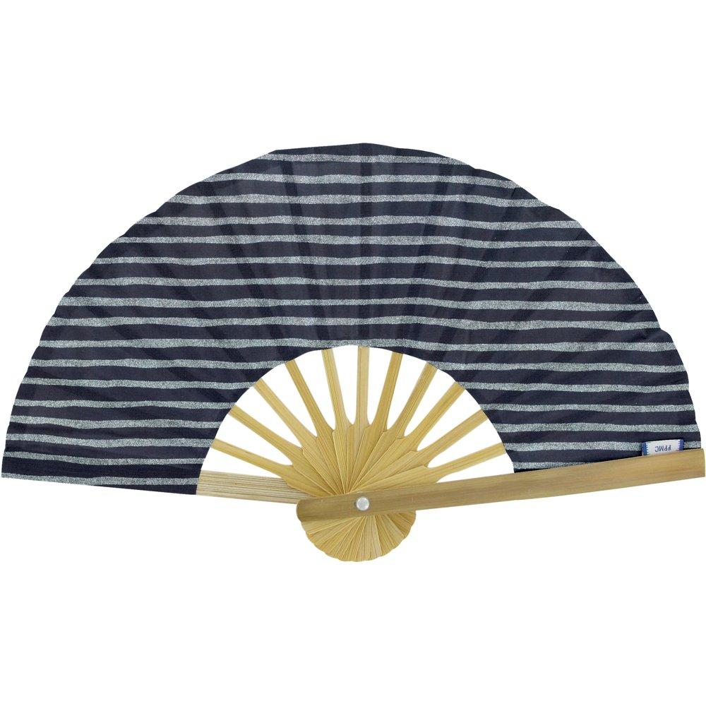 Hand-held fan striped silver dark blue