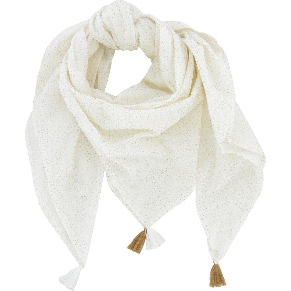 Foulard pompon  blanc pailleté