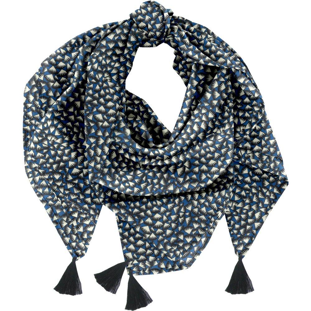Foulard pompon  eclats bleu nuit