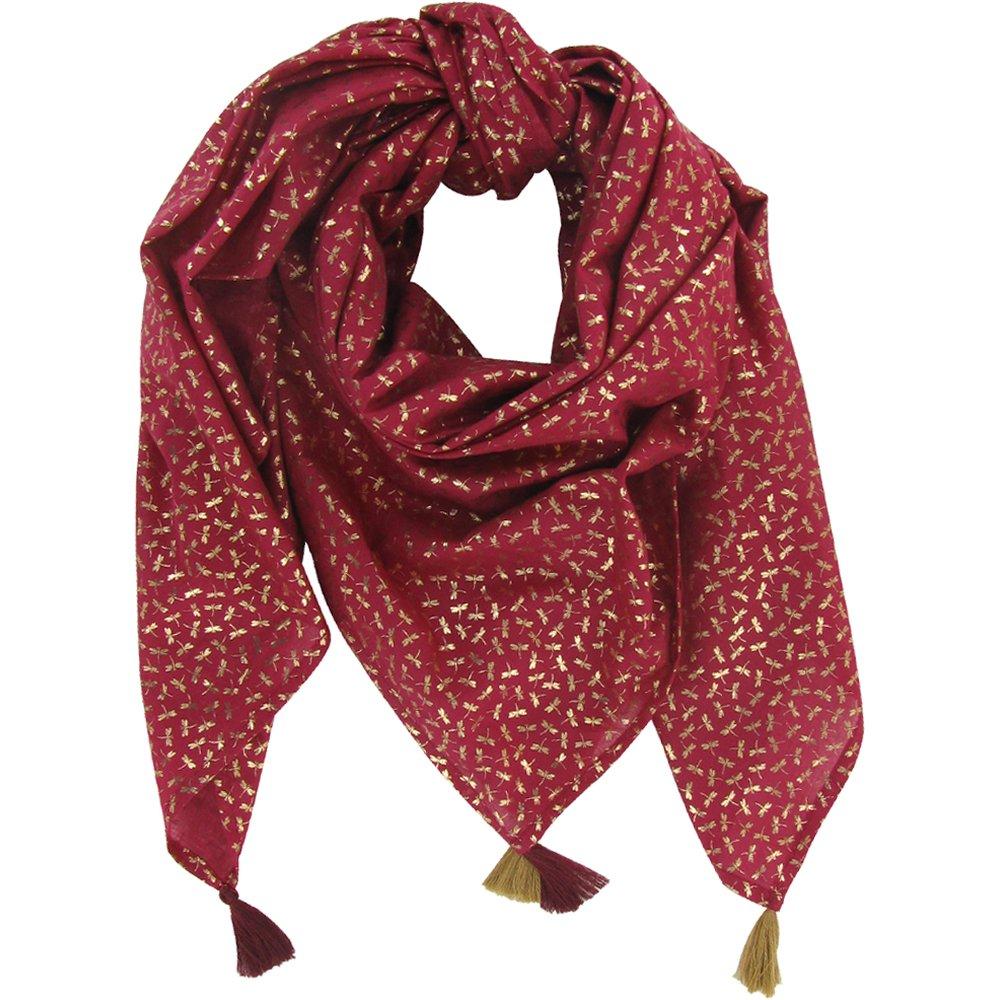 Foulard pompon libellule mini rubis