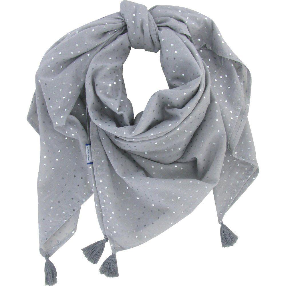 Foulard pompon  pois argent gris