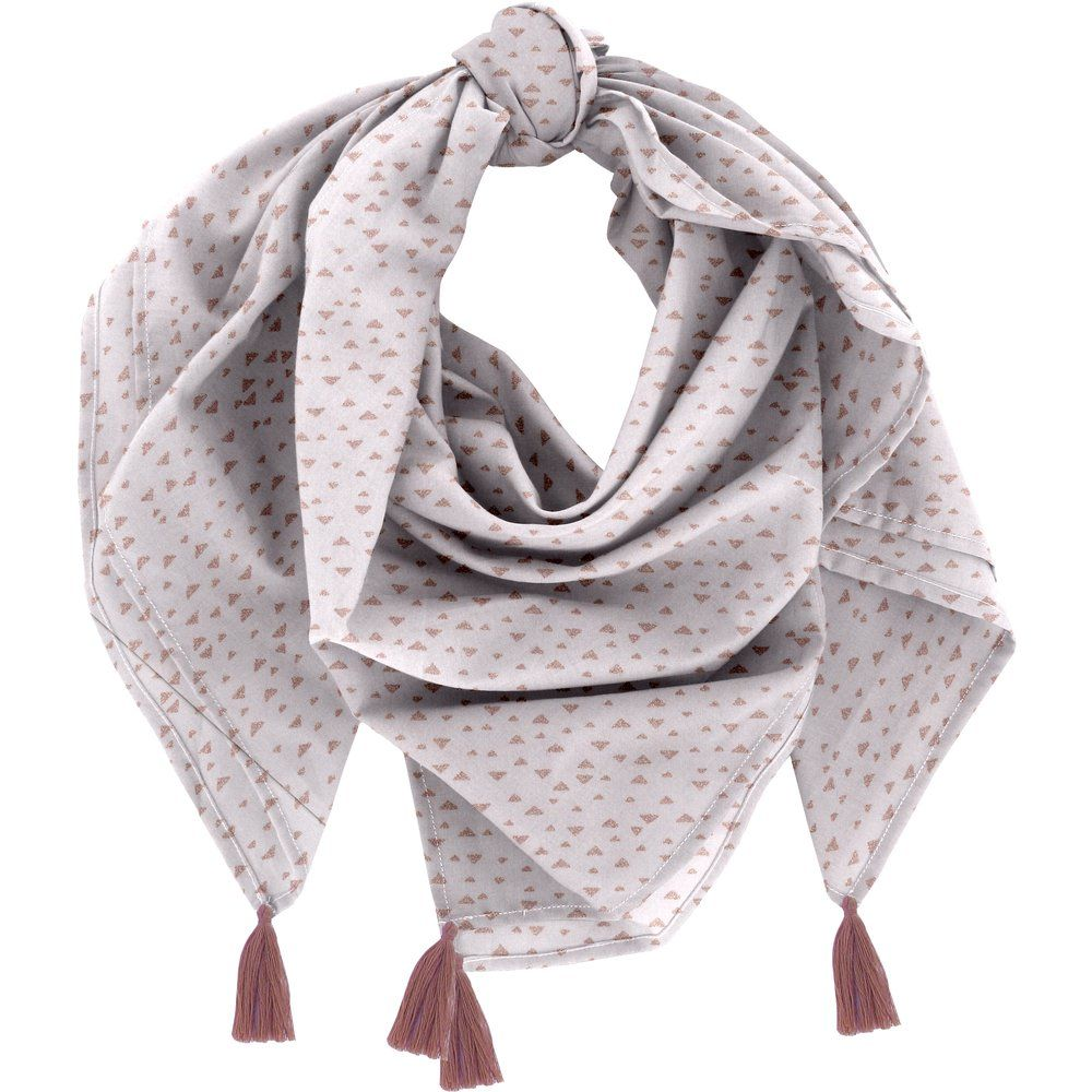 Pom pom scarf triangle cuivré gris