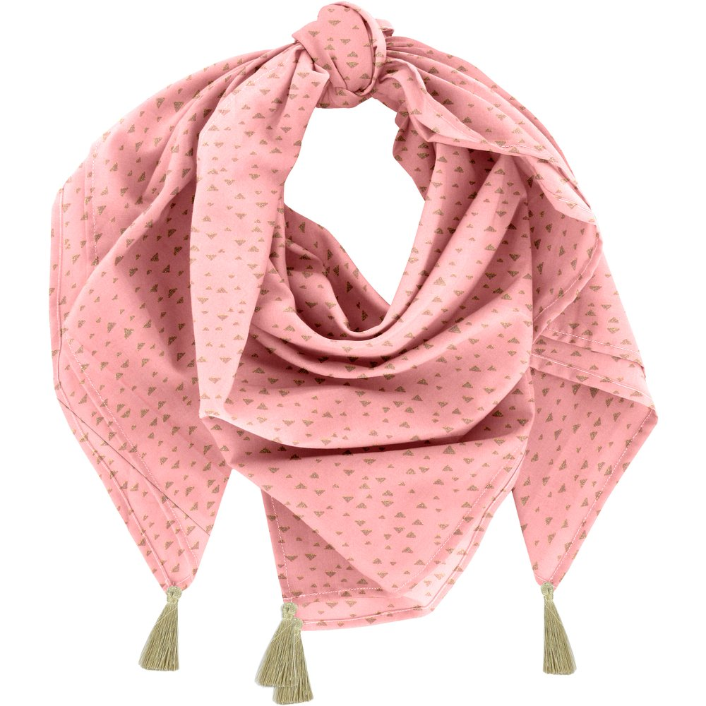 Foulard pompon triangle or poudré