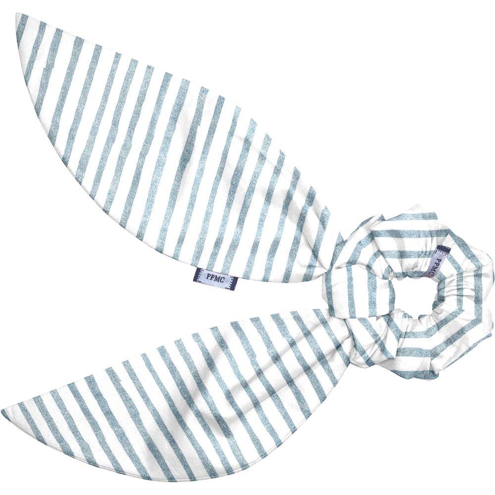 Short tail scrunchie striped blue gray glitter