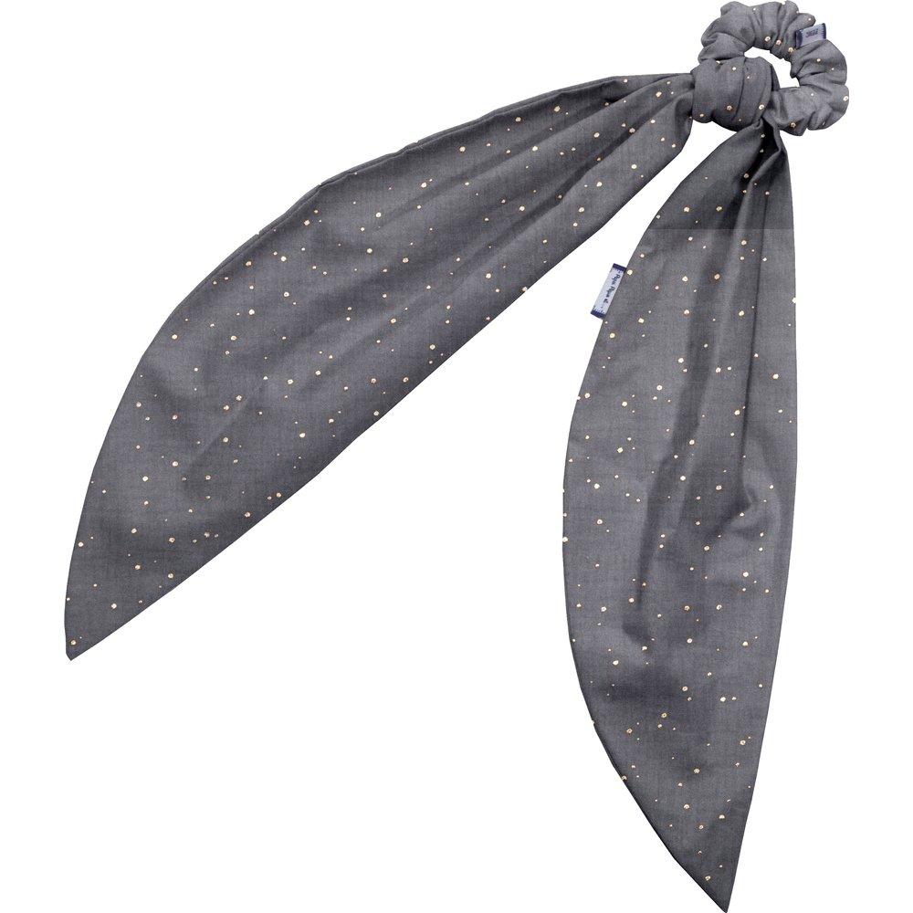 Long tail scrunchie gauze gray gold
