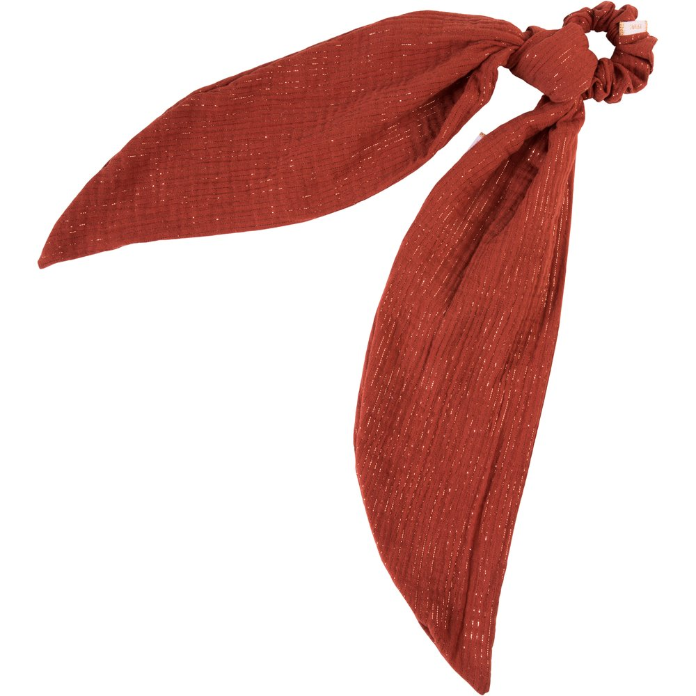 Long tail scrunchie lurex terracotta gauze