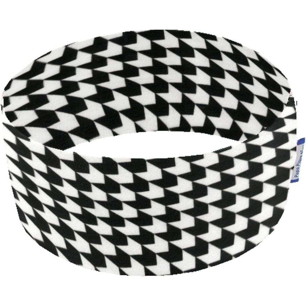 Stretch jersey headband  black and white h2