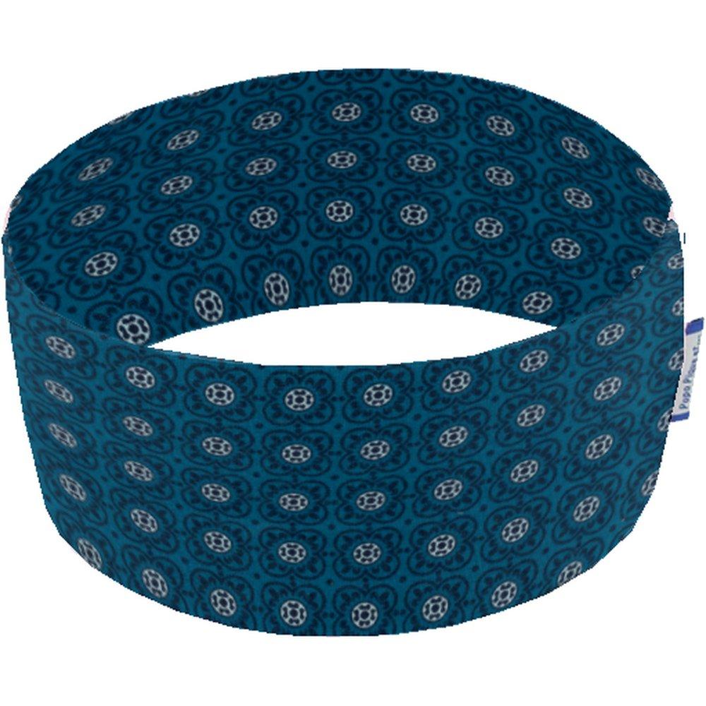 Bandeaux jersey fleur bleu canard f2