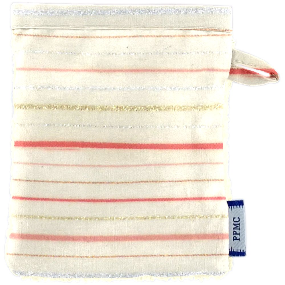 Make-up Remover Glove silver pink striped