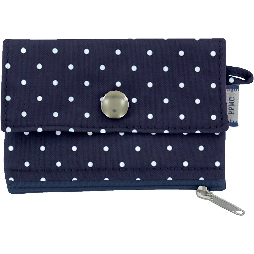 zipper pouch card purse navy blue spots