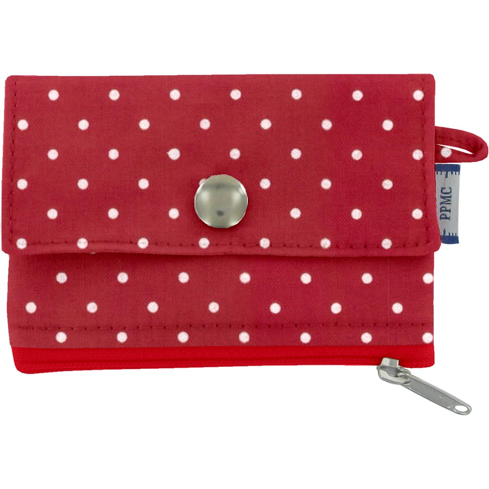 zipper pouch card purse red spots