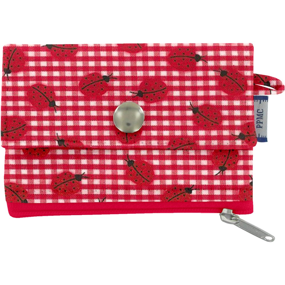 zipper pouch card purse ladybird gingham