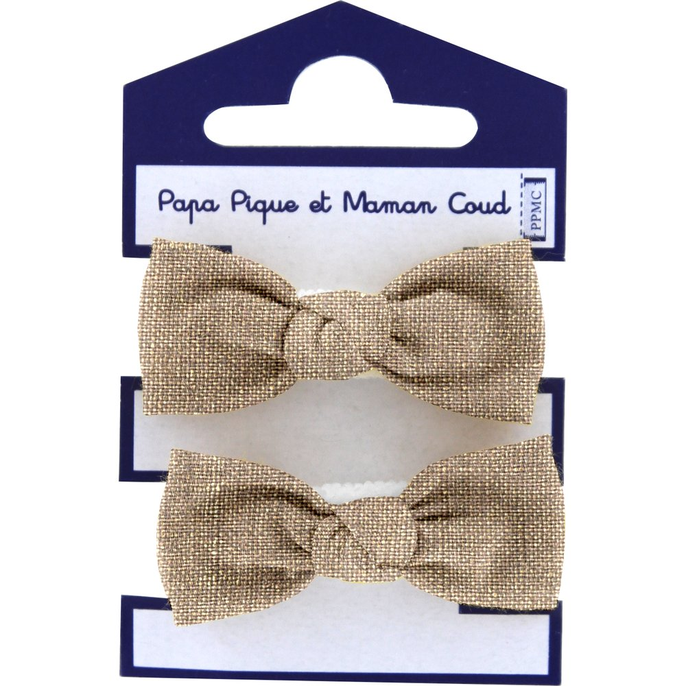 Small elastic bows gold linen