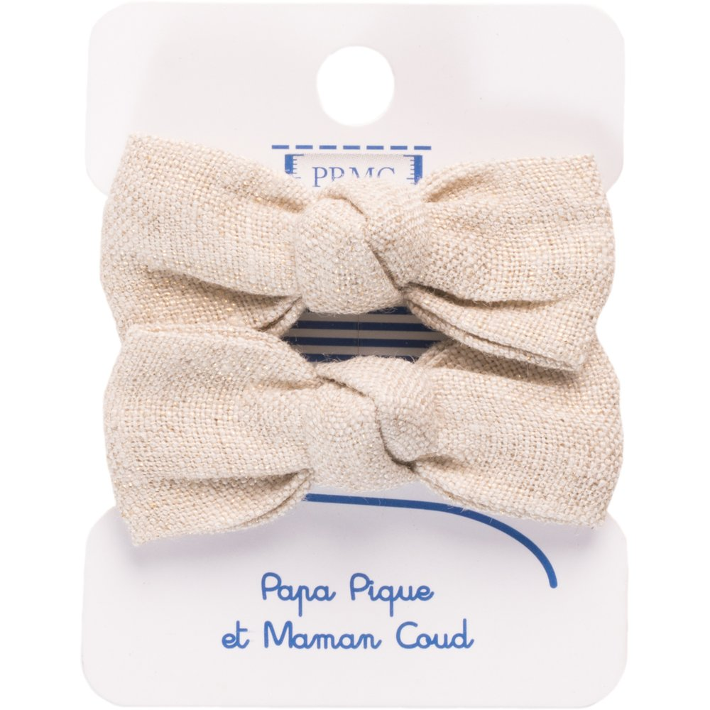 Small elastic bows  glitter linen